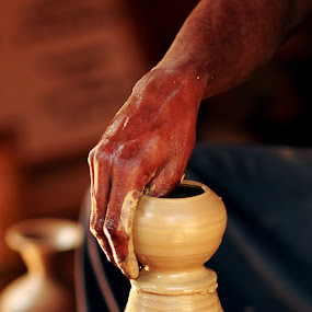 Crafting a Creation! by Balaji Mohanam - People Body Parts ( hand, clay, craft, pot making, pottery )