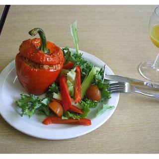Microwave Vegetarian Stuffed Peppers.