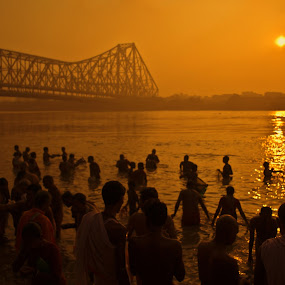 Mahalaya by Sandip Ghose - People Group/Corporate ( preist, mhalaya, holly dip, kolkata, tarpan, howrah bridge )