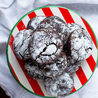 Gluten Free Chocolate Crinkle Cookies with Gingerbread Spice.