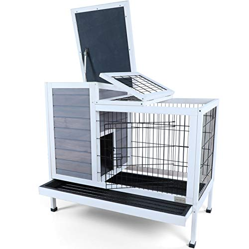 Petsfit Rabbit Hutch, Indoor Bunny Cage, Guinea Pig Cage with Pull Out Tray