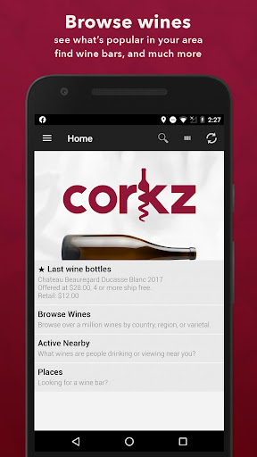 Screenshot for Corkz - Wine Info App -Reviews in United States Play Store