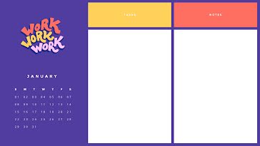 Work Monthly - Monthly Calendar template