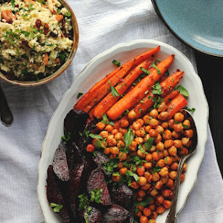 HARISSA ROASTED CARROTS, BEETS +  CHICKPEAS WITH HERBY MILLET PILAF.