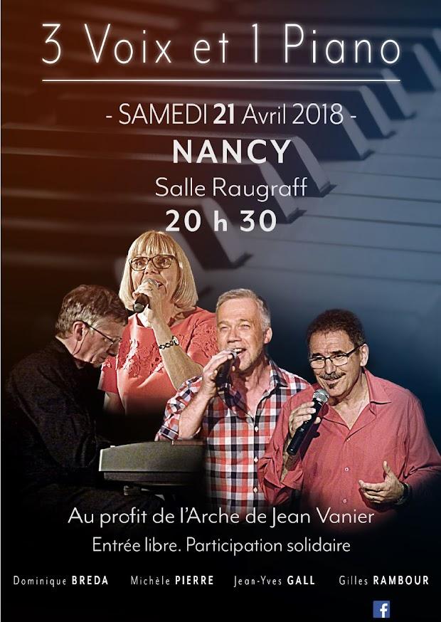 Concert du 21 avril 2018 : 3 voix & 1 piano au profit de L'Arche à Nancy