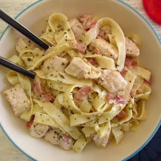 Fried Chicken Breast With Bacon And Tagliatelle.