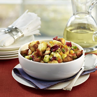 Cornbread Stuffing with Sweet Italian Sausage, Apple and Cranberries.