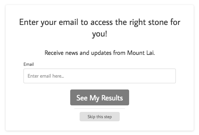 email opt-in form for Mount Lai quiz