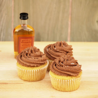 Bourbon-Soaked Brown Sugar Cupcakes with Salted Chocolate Frosting