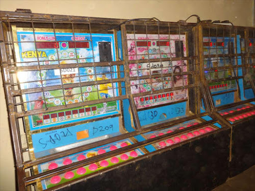Betting machines at an illegal betting joint in Kiganjo Estate, Thika.