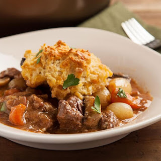 Beef Bourguignon Pot Pie with Cheddar Biscuit Crust