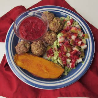 AIP Green Onion-Sage Pork Meatballs with Cranberry-Fig Dipping Sauce.