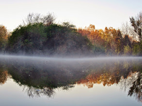 Photo: An island remaining green in a world of autumn at Eastwood Park in Dayton, Ohio.