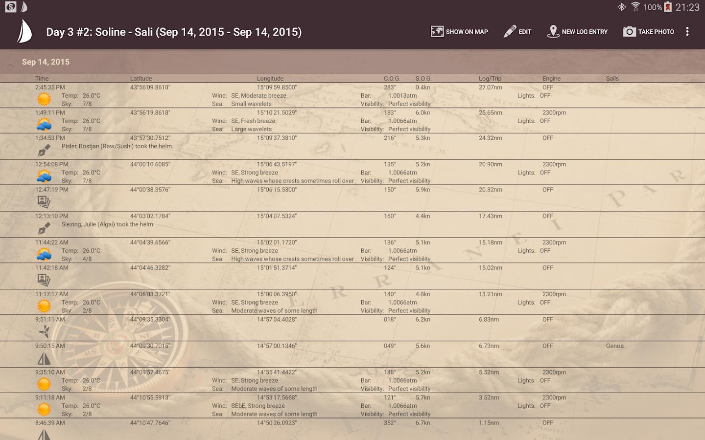 Sailor s log book screenshot