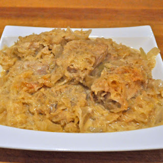 Slow Cooker Creamy Pork and Kraut.