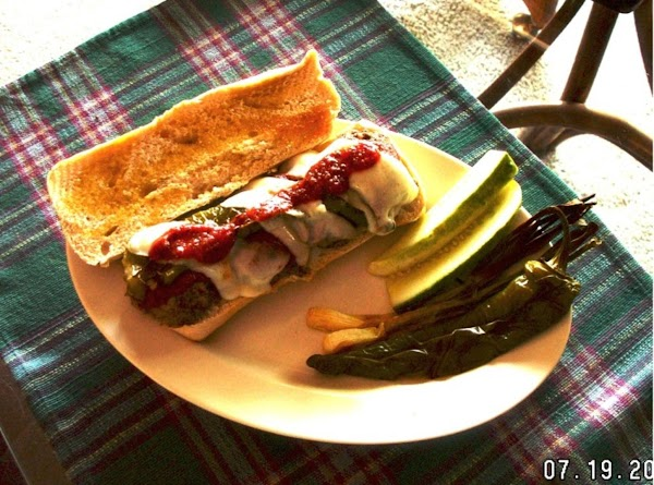 Italian Meatball Sandwich -- With Sweet Italian Roaster Peppers (Roasted) and Provolone Cheese and...