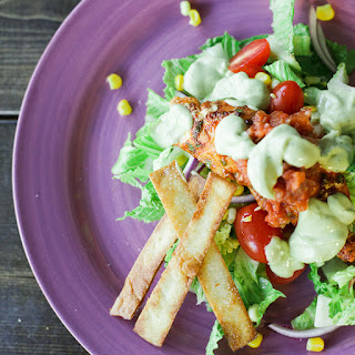 Healthy & Spicy Fish Taco Salad.