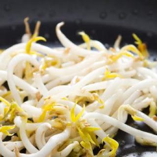 Bibimbap with Mung Bean Sprout Salad and Kimchi.