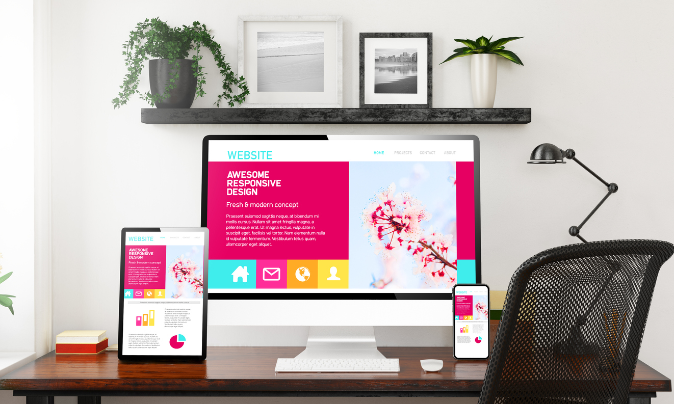A computer, phone, and tablet screen ready for a website redesign