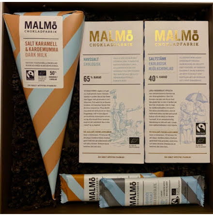 Salta lådan – Havsalt, saltstänk, salt karamell, lakrits & kardemumma - Malmö Chokladfabrik