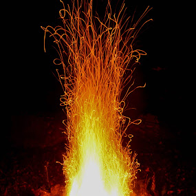 FIRE by Marc-Andre Grenier - Nature Up Close Other Natural Objects ( orange, wood, sparks, rocks, fire )