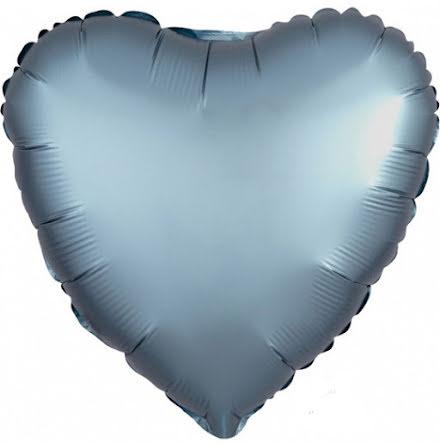 Folieballong Satinhjärta stålblå, 43 cm