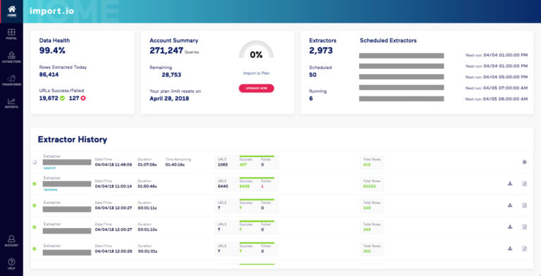 Introducing the new Import.io dashboard | Import.io