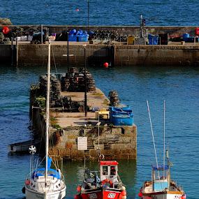 Three Boats in Newquay by DJ Cockburn - Transportation Boats ( concrete, harbour, sailboat, breakwater, cornwall, marlene, fishing boat, motor boat, sea, uk, vessel, sailing boat, england, coastline, shore, ss40, transport, newquay harbour, boat, transportation, nautical, pz60, coast, yacht, atlantic, lobster pot, newquay, ocean, port, maritime, tol bar, wendy jane,  )