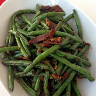 Easy Chinese Green Beans with Turkey Bacon.