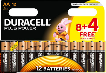 Duracell Plus Power AA Alkaline Battery - 8+4 Pack