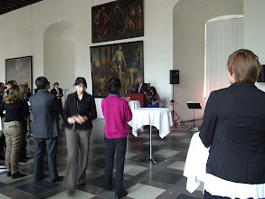 Photo: Conference reception at Kronborg Castle; my (big) boss at the time, Jeannette, in the colorful sweater