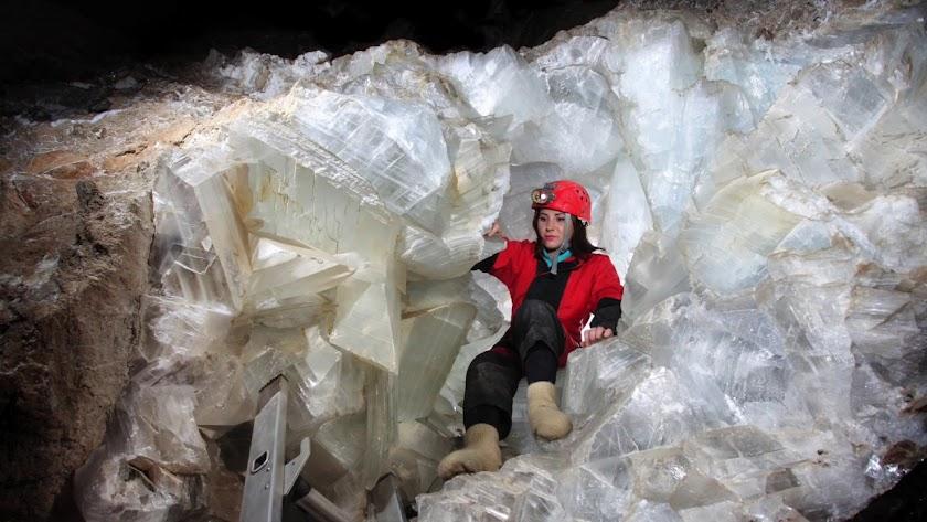 Parte del interior de la Geoda Gigante de Pulpí.