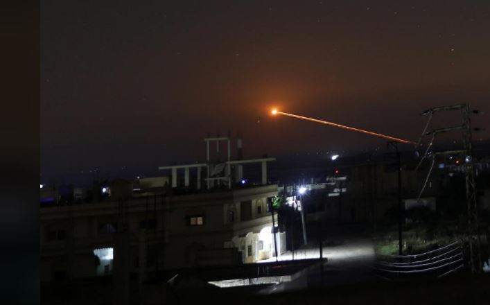 Missile fire is seen over Daraa, Syria May 10, 2018. REUTERS/Alaa al Faqir
