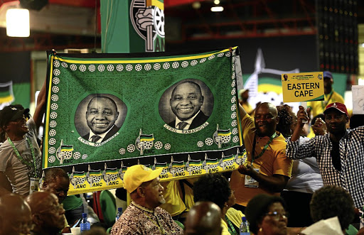 Cyril Ramaphosa's supporters celebrate yesterday after he was announced as the new ANC president during the 54th ANC national elective conference at Nasrec, Johannesburg.