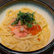 Uni, Ikura and Crab Carbonara Udon