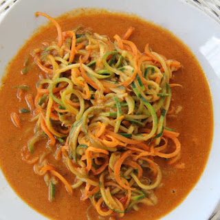 Carrot and Zucchini noodles in a Red Thai Curry Sauce