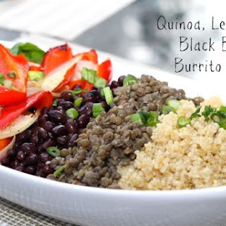 Quinoa, Lentil and Black Bean Burrito Bowl.