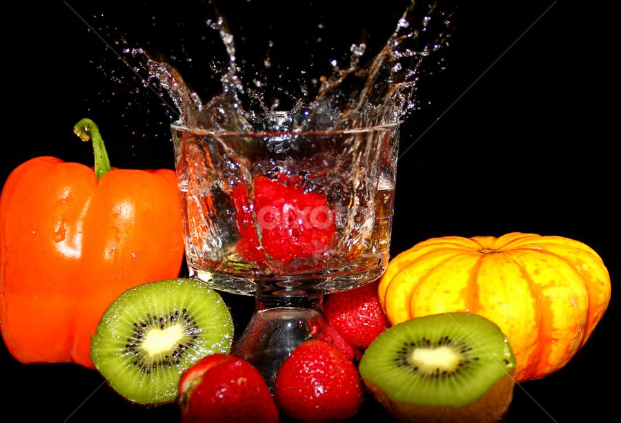 by Dipali S - Food & Drink Fruits & Vegetables ( water, beverage, splash, pumpkin, kiwi, food, sliced, fruits, vegetables, glass, strawberry,  )
