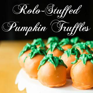 Rolo-Stuffed Pumpkin Truffles