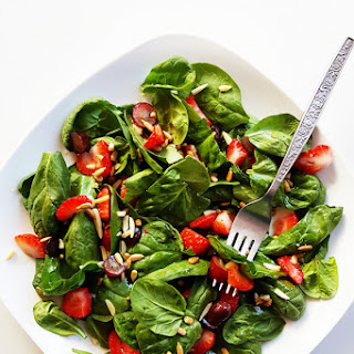 Strawberry Spinach Salad with Maple Vinaigrette.