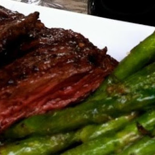 Chimichurri Skirt Steak with Grilled Asparagus.
