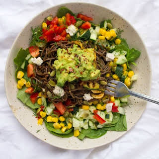 Spicy Southern California Black Bean Spaghetti Salad.