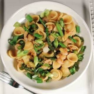 Orecchiette Pasta with Shrimp and Asparagus.