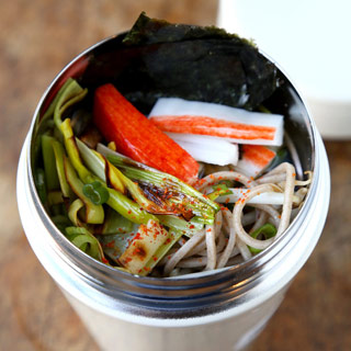 Soba Noodles with Leeks and Crab Sticks