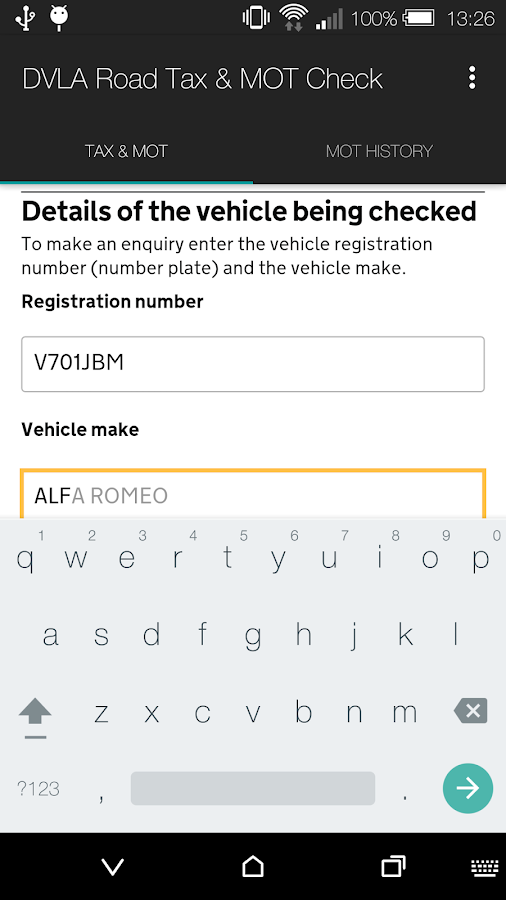 DVLA Road Tax & MOT Check- screenshot