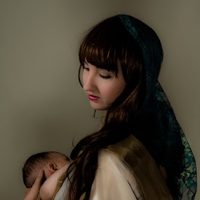 Madonna and baby by GThomas Muir - People Portraits of Women ( child, madonna, beauty, classic, portrait )