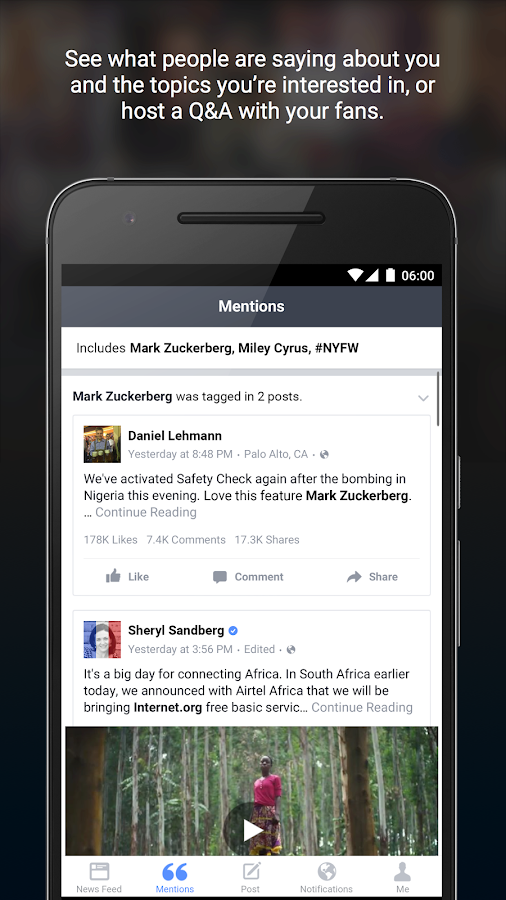 Screenshots of Facebook Mentions for iPhone