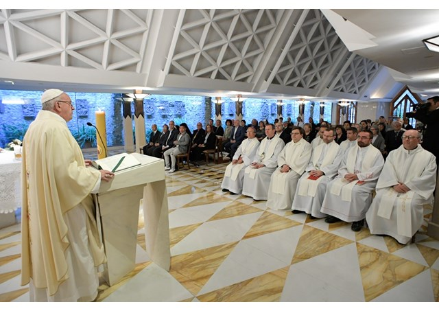 Pope Francis gives the homily at the morning Mass at the Casa Santa Marta