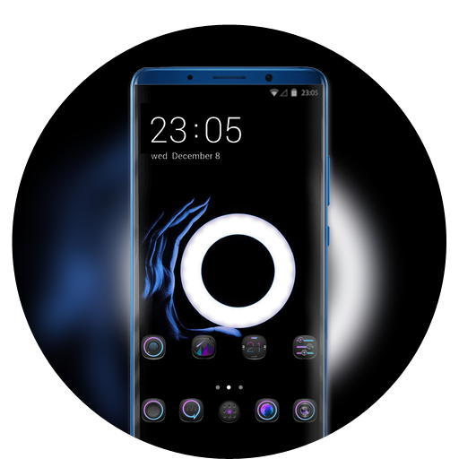 Theme for light circle in the dark wallpaper icon