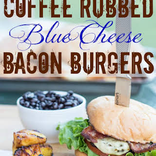 Coffee Rubbed Blue Cheese Bacon Burgers.